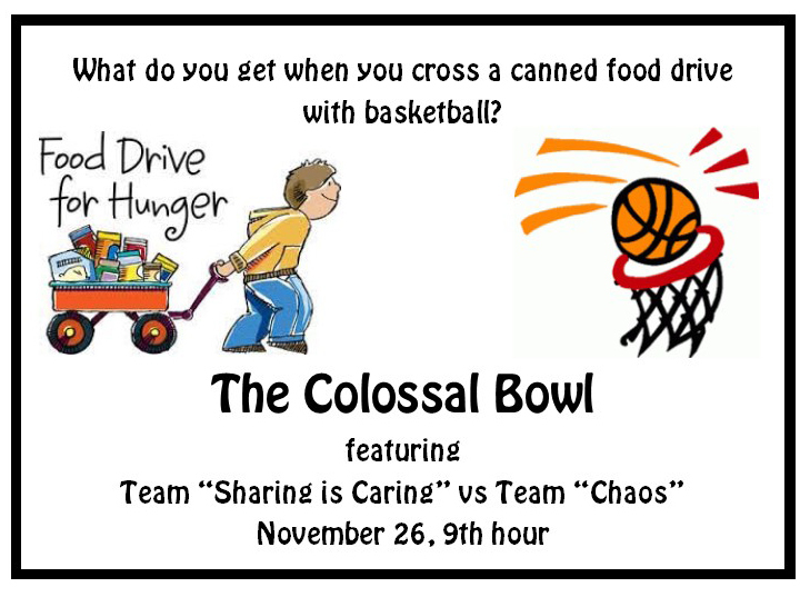 Don't forget to come to the Colossal Bowl featuring the Sharing is Caring team facing off against the Chaos team.